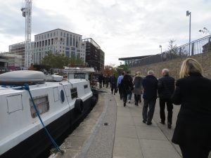 Delegates at ISCP Congress, October 2018, attending an ecopsychology 'walk and talk' mini-skills coaching session along the canal